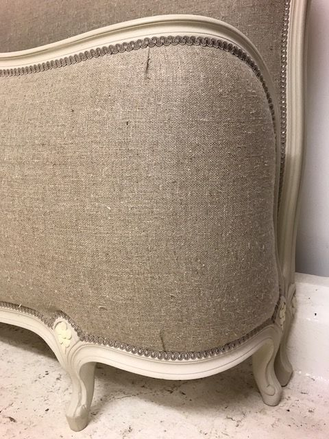 SOLD -Upholstered Super King Vintage French Bed - New Linen Upholstery - fy16